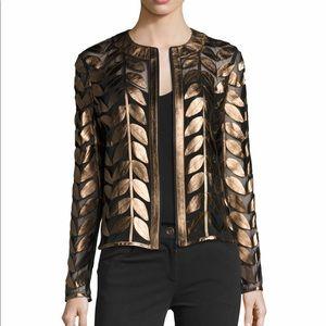Leather Leaf-Trimmed Sheer Organza Jacket, size S